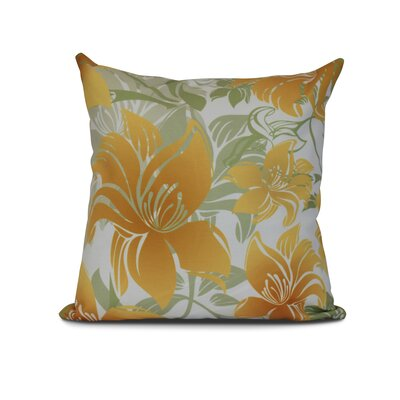Costigan Tree Mallow Floral Print Outdoor Throw Pillow Size: 18 H x 18 W x 3 D, Color: Gold
