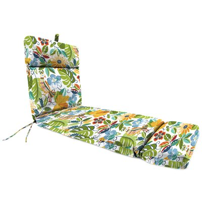 Outdoor Floral And Bird Chaise Lounge Cushion Fabric: Lensing Garden