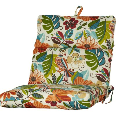 Outdoor Tree And Bird Dining Chair Cushion Fabric: Lensing Jungle