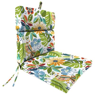 Outdoor Tree And Bird Dining Chair Cushion Fabric: Lensing Garden