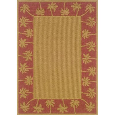Goldenrod Beige/Red Indoor/Outdoor Area Rug Rug Size: 73 x 106