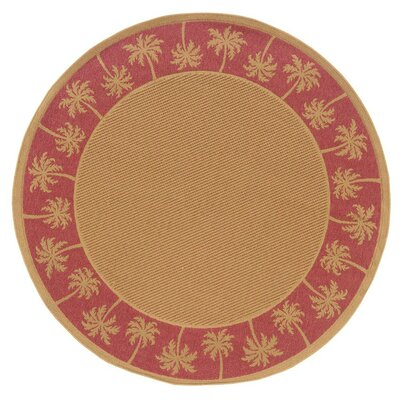 Goldenrod Beige/Red Indoor/Outdoor Area Rug Rug Size: Round 710