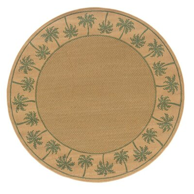 Goldenrod Beige/Green Indoor/Outdoor Area Rug Rug Size: Round 710