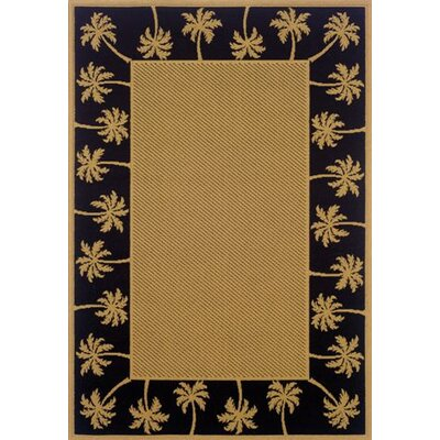 Goldenrod Beige/Black Indoor/Outdoor Area Rug Rug Size: Round 710