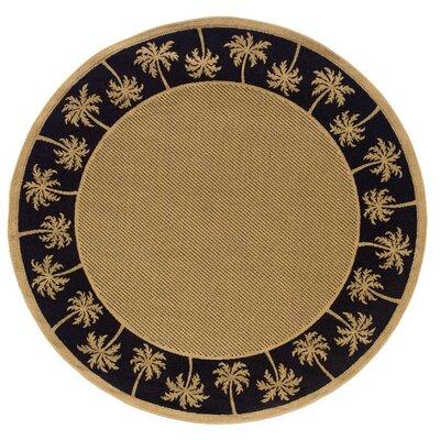 Goldenrod Beige/Black Indoor/Outdoor Area Rug Rug Size: Round 710