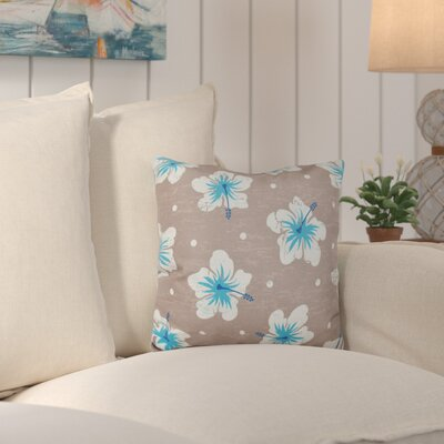 Hibiscus Blooms Outdoor Throw Pillow Color: Beige