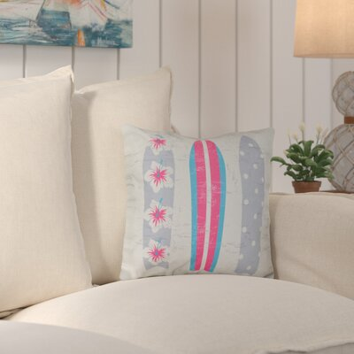 Triple Surf Geometric Outdoor Throw Pillow Color: Gray/Pink