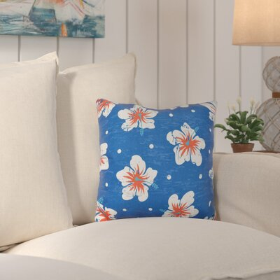 Hibiscus Blooms Outdoor Throw Pillow Color: Blue
