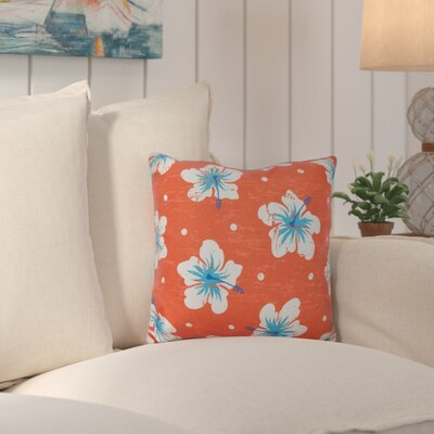 Hibiscus Blooms Outdoor Throw Pillow Color: Orange