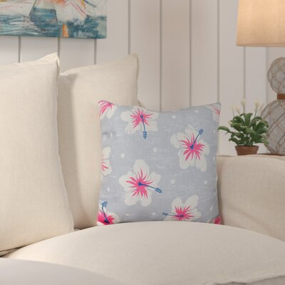 Hibiscus Blooms Outdoor Throw Pillow Color: Gray