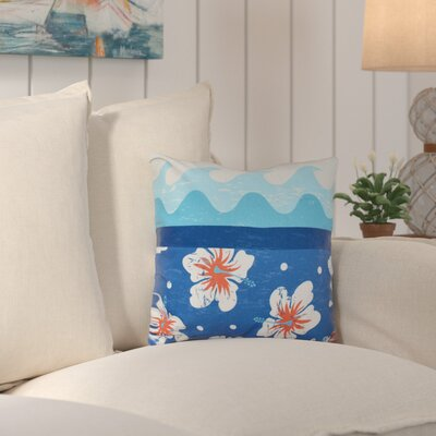 Surf, Sand and Sea Outdoor Throw Pillow Color: Blue