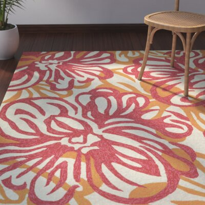 Wallingford Hibiscus Hand-Woven Rosebud/Honey Indoor/Outdoor Area Rug Rug Size: Rectangle 8 x 11