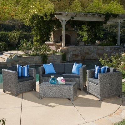 Kazuko 4 Piece Deep Seating Group with Cushions Finish: Grey