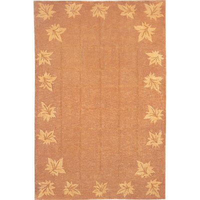 Vouno Sheep Leaf Gold Area Rug Rug Size: Round 5