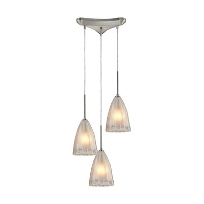 Mejorado 3-Light Cascade Pendant Finish: Satin Nickel