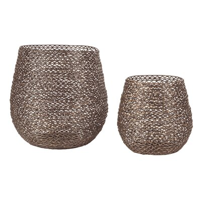 Textured 2 Piece Metal Hurricane Set Color: Bronze