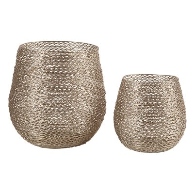 Textured 2 Piece Metal Hurricane Set Color: Silver