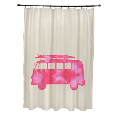 Pembrook Polyester BeachDrive Geometric Shower Curtain Color: Pink