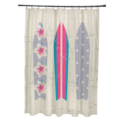 Pembrook Polyester Triple Surf Geometric Shower Curtain Color: Pink