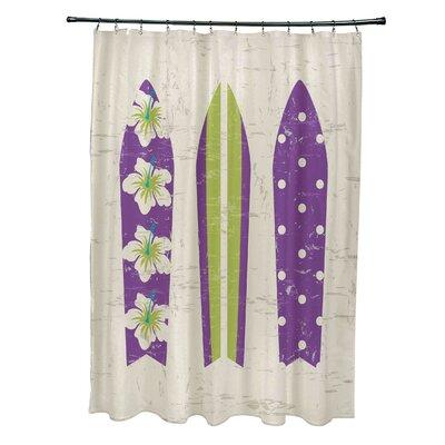 Pembrook Polyester Triple Surf Geometric Shower Curtain Color: Purple