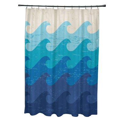 Pembrook Polyester Deep Sea Geometric Shower Curtain Color: Blue