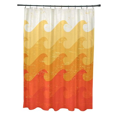 Pembrook Polyester Deep Sea Geometric Shower Curtain Color: Yellow/Orange