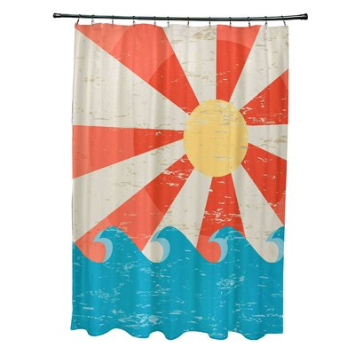 Pembrook Polyester Sunbeams Geometric Shower Curtain Color: Orange
