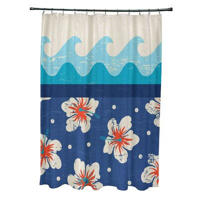 Pembrook Polyester Floral Shower Curtain Color: Blue