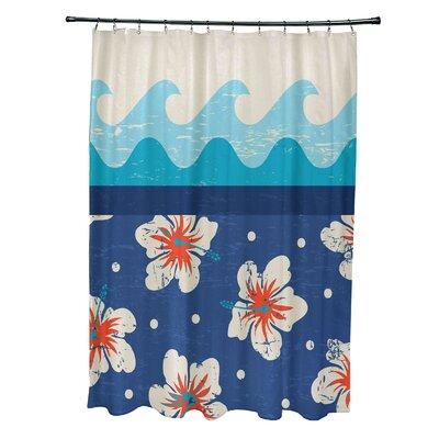 Pembrook Polyester Floral Shower Curtain Color: Blue