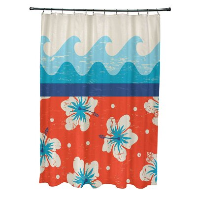 Pembrook Polyester Floral Shower Curtain Color: Orange
