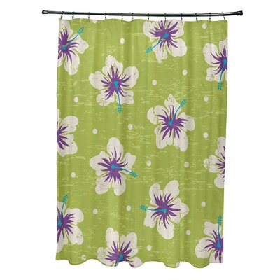 Pembrook Polyester Hibiscus Blooms Floral Shower Curtain Color: Light Green