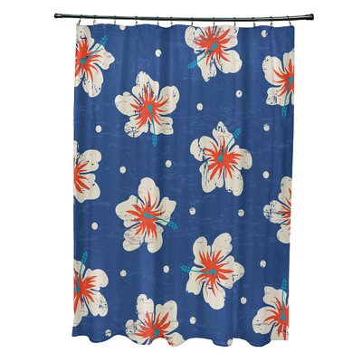 Pembrook Polyester Hibiscus Blooms Floral Shower Curtain Color: Blue