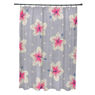Pembrook Polyester Hibiscus Blooms Floral Shower Curtain Color: Gray
