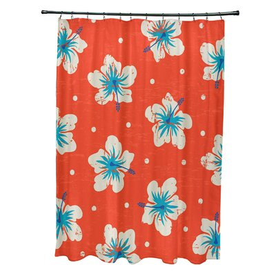 Pembrook Polyester Hibiscus Blooms Floral Shower Curtain Color: Orange
