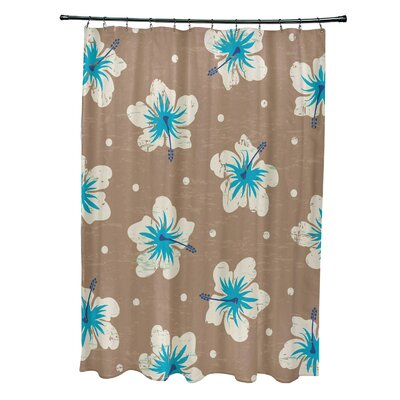 Pembrook Polyester Hibiscus Blooms Floral Shower Curtain Color: Beige/Taupe