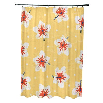 Pembrook Polyester Hibiscus Blooms Floral Shower Curtain Color: Yellow