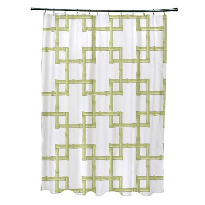Connelly Polyester Bamboo 2 Geometric Shower Curtain Color: Green