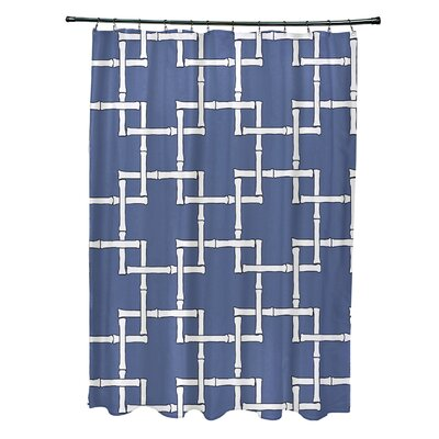 Connelly Polyester Bamboo 1 Geometric Shower Curtain Color: Blue
