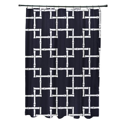 Connelly Polyester Bamboo 1 Geometric Shower Curtain Color: Navy Blue