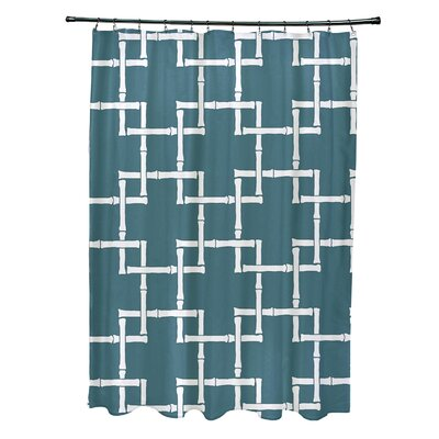 Connelly Polyester Bamboo 1 Geometric Shower Curtain Color: Teal