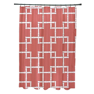 Connelly Polyester Bamboo 1 Geometric Shower Curtain Color: Coral