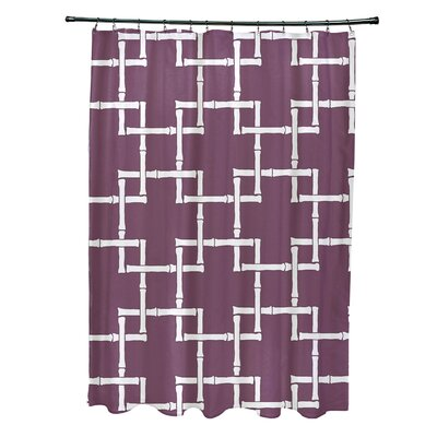 Connelly Polyester Bamboo 1 Geometric Shower Curtain Color: Purple