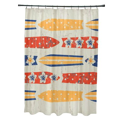 Pembrook Polyester Jan Geometric Shower Curtain Color: Yellow