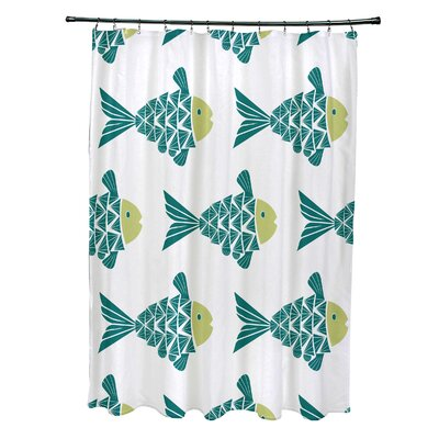 Grand Ridge Polyester Fish Tales Coastal Shower Curtain Color: Teal