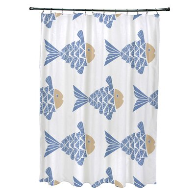 Grand Ridge Polyester Fish Tales Coastal Shower Curtain Color: Blue
