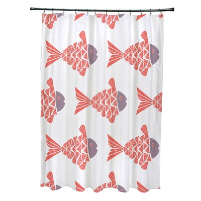 Grand Ridge Polyester Fish Tales Coastal Shower Curtain Color: Coral