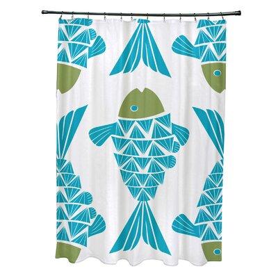 Grand Ridge Polyester Big Fish Coastal Shower Curtain Color: Turquoise