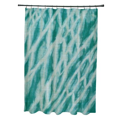 Grand Ridge Polyester Shibori Stripe Geometric Shower Curtain Color: Teal