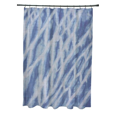 Grand Ridge Polyester Shibori Stripe Geometric Shower Curtain Color: Blue