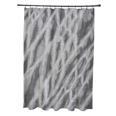 Grand Ridge Polyester Shibori Stripe Geometric Shower Curtain Color: Gray
